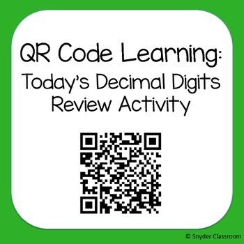 QR Code Decimal Place Value Review Activity