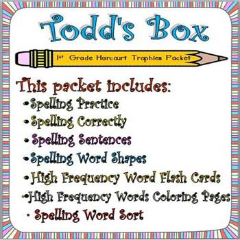 Todd's Box: First Grade Spelling and Sight Words Packet