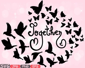 Together Family birds Butterflies butterfly love clipart h