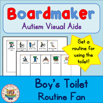 Toilet Routine Fan (boy) - Boardmaker / Autism / ADHD / AS