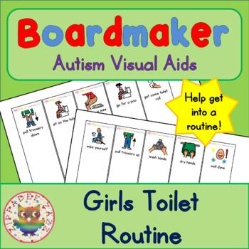 Toilet Routine Fan (girl) - Boardmaker / Autism / ADHD / A