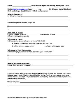 Tolerance & Sportsmanship PebbleGo Webquest