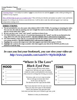 Tone and Mood in Music - Differentiated Group Activity