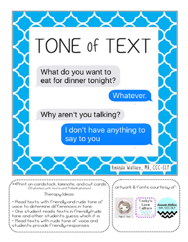 Tone of Text--nonverbal communication activity