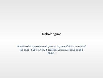 Tonguetwisters/ trabalenguas:  Warm-up activity / Realidades