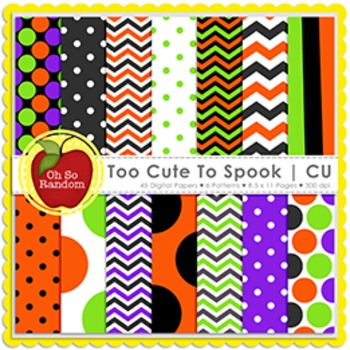 Too Cute to Spook Halloween Digital Papers {Papers for Com