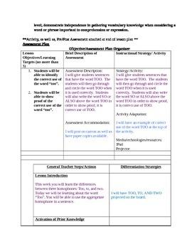 Too - Grammar Lesson Plan - Homophones