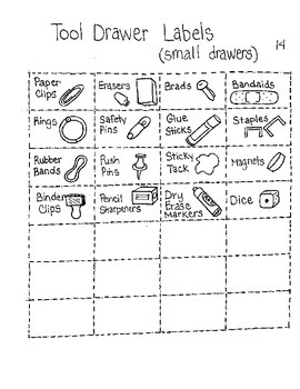 Tool Drawer Labels