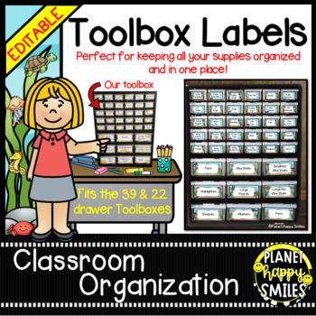 "Toolbox Labels (Editable) ~ ""Under the Sea"" Ocean Theme"