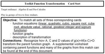 Toolkit Function Transformation Card Sort (Alg2/PreCal)