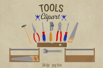 Tools Clipart, Construction Tools and Toolbox