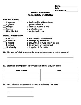 Tools, Safety and Matter Review Homework