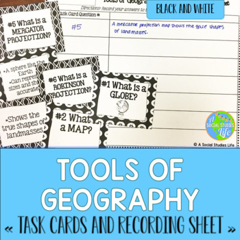 Tools of Geography Task Cards and Recording Sheet - Black