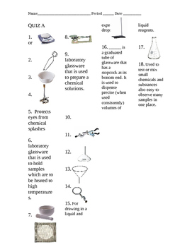 Tools of the Chemistry Lab Quizzes (A and B or create your own)