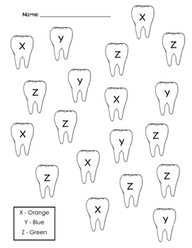 Tooth Color By Letter (X, Y, Z)