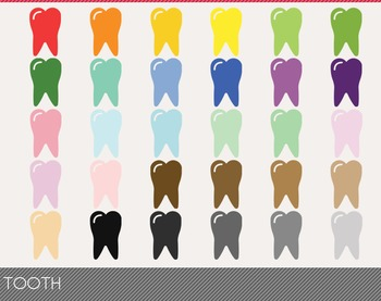 Tooth Digital Clipart, Tooth Graphics, Tooth PNG, Rainbow