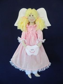 Tooth Fairy Doll - Pink Dress With Small Print Details