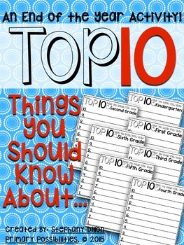 Top 10 End of the Year Freebie!