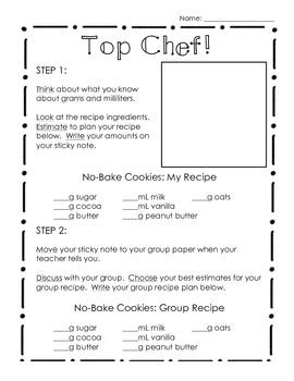 Top Chef - 3rd Grade Common Core Measurement Cooking Activity
