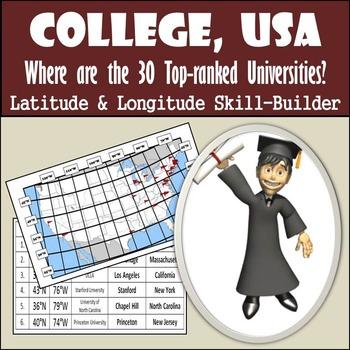 Latitude & Longitude Worksheet - College, USA