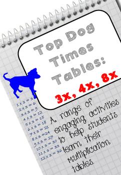 Top Dog Multiplication Tables: 3x, 4x, 8x.