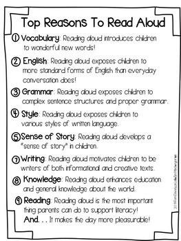 FREEBIE! Top Reasons To Read Aloud