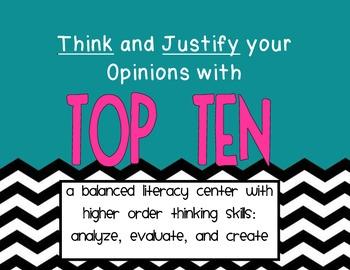 Top Ten Balanced Literacy Center Higher Order Thinking Fir