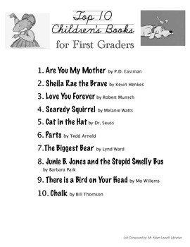 Top Ten Books for First Graders