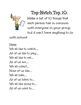 Top Ten List for Group Work- Getting to Know You