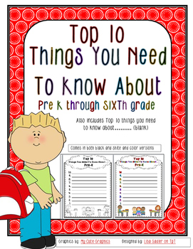 Top Ten Things About (Grade level or Student) (All Element
