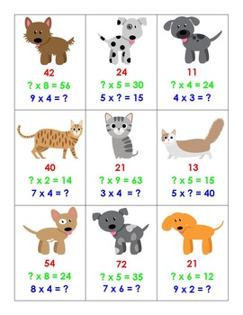 Top Trump - Cats & Dogs - Multiplication to 9