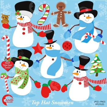 Christmas Snowmen clipart, Top hat snowman clipart AMB-502