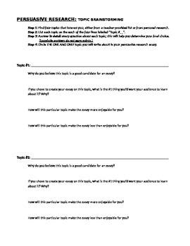 Topic Brainstorming Sheet (Persuasive/Research Essay, Part 1)