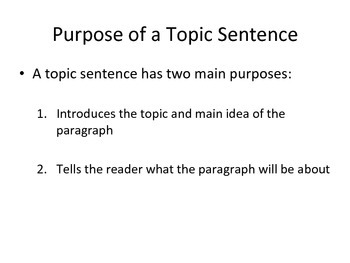 Topic Sentence PowerPoint