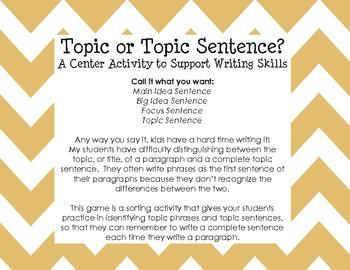 Topics vs. Topic Sentences