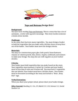 Tops and Bottoms Design Brief Children's Engineering STEM