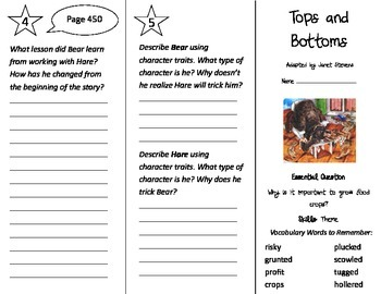 Tops and Bottoms Trifold - Journeys 3rd Gr Unit 3 Wk 2 (20