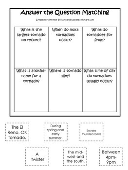 Tornado #2 themed Answer the Question printable game.  Pre