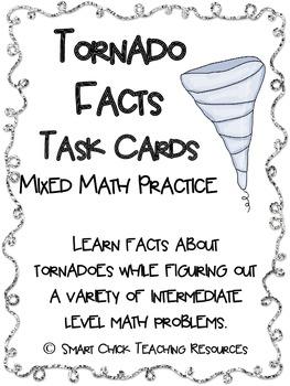 Tornado Facts Math Task Cards! (set of 20)  Mixed Math Practice