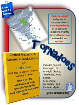 Tornadoes Content Reading, Activities, and Assessments