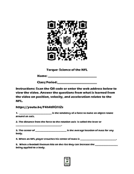 Torque-Science of the NFL QR Code Video Worksheet