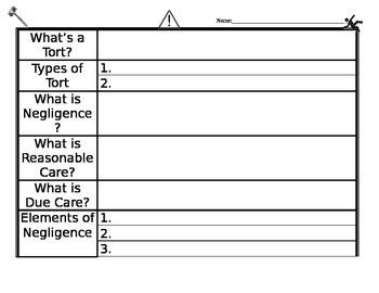 Tort Civil Law Lawsuit Graphic Organizer Worksheet - negligence