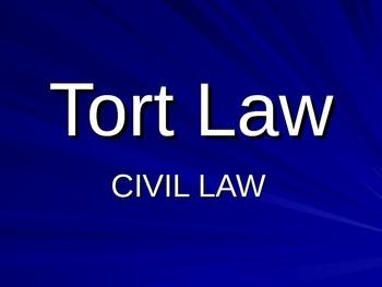 Tort Civil Law Lawsuit PowerPoint Worksheet - negligence
