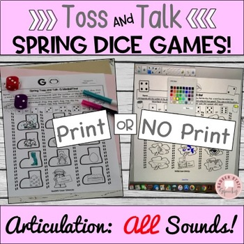 Toss and Talk, No prep dice games for Spring!  Later Sounds!