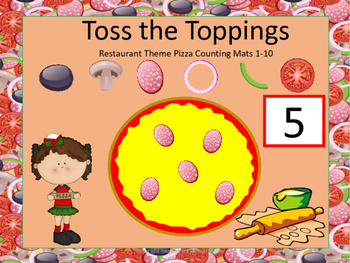 Toss the Toppings - Restaurant Theme Pizza Counting Mats 1-10