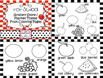 Tot School Grocery Market Fruit Theme Color Word Coloring Page