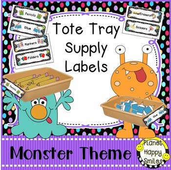Tote Tray Supply Labels, Monster Theme