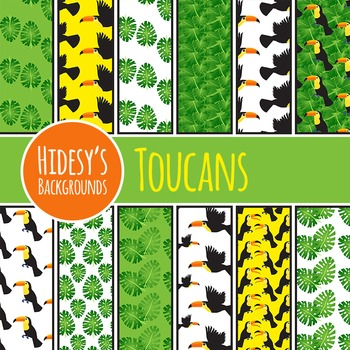 Toucan Background / Jungle DIgital Paper / Pattern Clip Ar