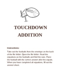 Touchdown Addition- File folder game