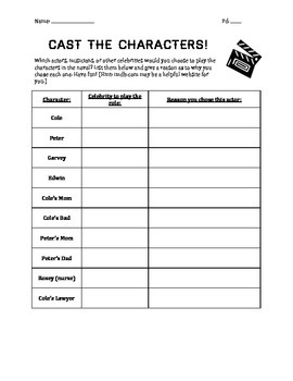 Touching Spirit Bear Activity: Cast the Characters